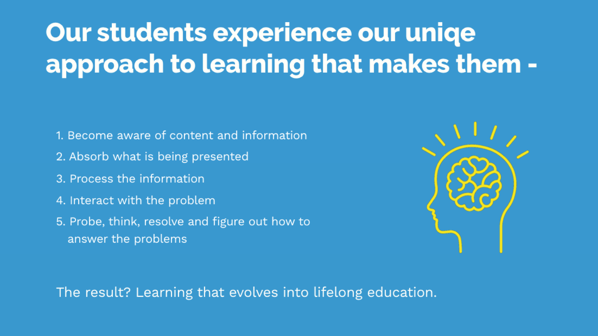 Unique approach to learning