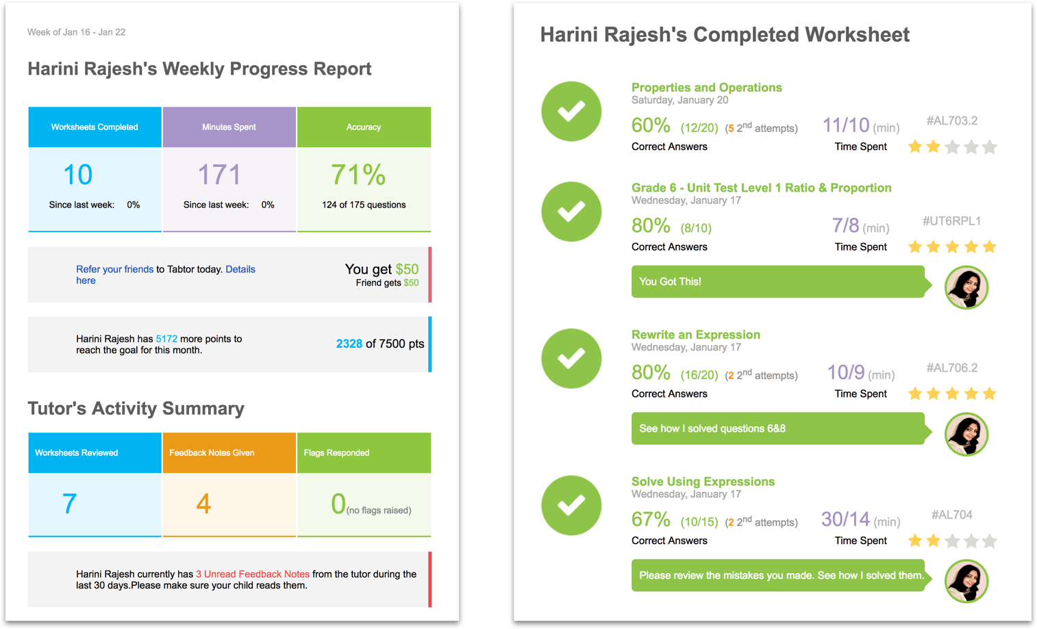 Thinkster Student Progress Report