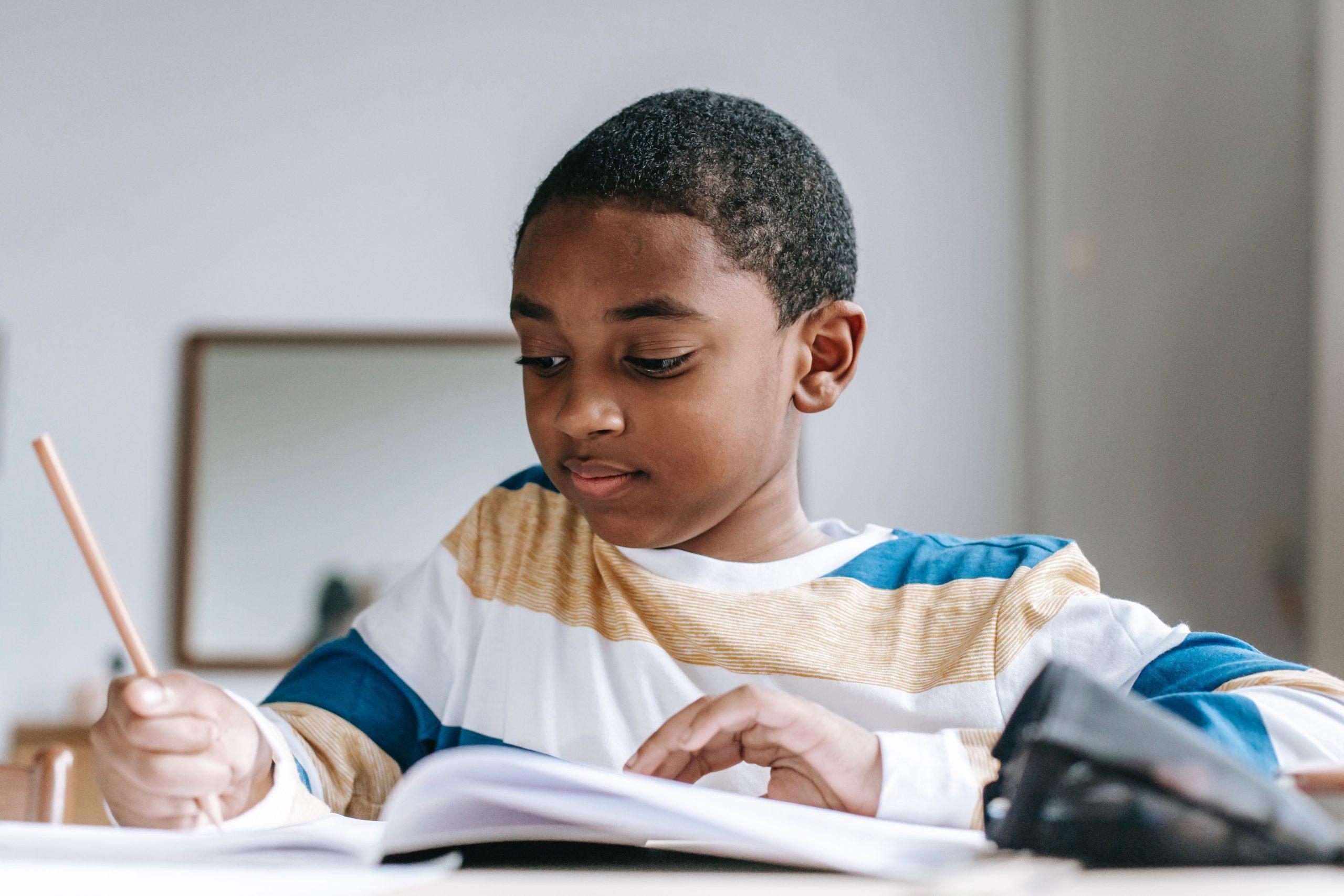 Kid practicing math