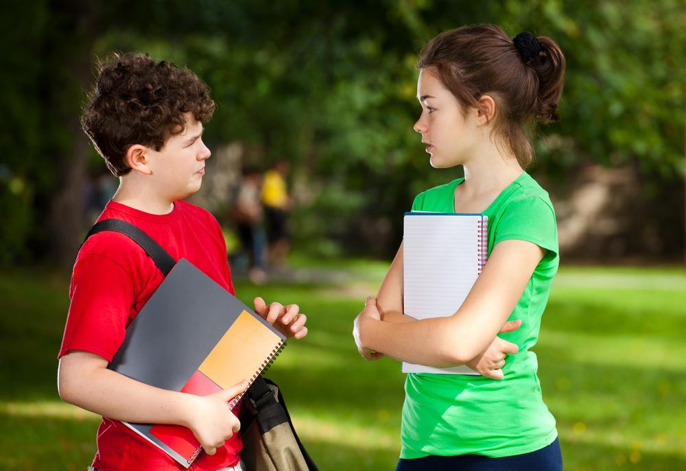 Two children talk after school