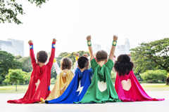 Children in super hero costumes